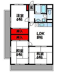 JR鹿児島本線 福工大前駅 徒歩13分の賃貸マンション 3階3LDKの間取り