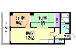 エトワール福井 4階2LDKの間取り