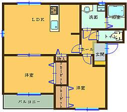 和歌山県海南市大野中の賃貸マンションの間取り