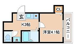 神戸市西神・山手線 長田駅 徒歩10分の賃貸アパート 2階1Kの間取り