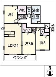クレアーレ高峯 B棟[1階]の間取り