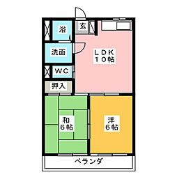 タケセイハイツ道徳[2階]の間取り