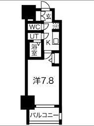 名古屋市営東山線 新栄町駅 徒歩9分の賃貸マンション 5階ワンルームの間取り