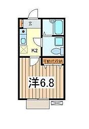 神奈川県川崎市多摩区西生田2丁目の賃貸アパートの間取り