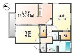 ラリヴィエールスモトB棟[1階]の間取り