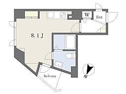 カリーノ駒込 5階ワンルームの間取り