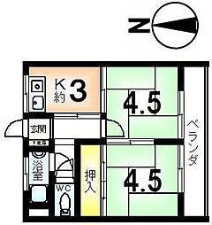 マンション千鶴荘[3階]の間取り