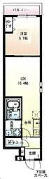 京阪本線 萱島駅 徒歩3分の賃貸アパート 1階1Kの間取り