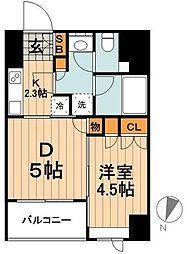 セレニティー神田 4階1DKの間取り