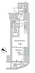 東京メトロ千代田線 赤坂駅 徒歩3分の賃貸マンション 7階1DKの間取り