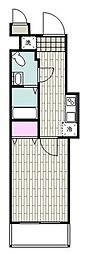 JR京浜東北・根岸線 山手駅 徒歩9分の賃貸マンション 5階1Kの間取り