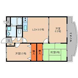 奈良県桜井市外山の賃貸マンションの間取り