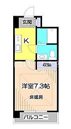 東武東上線 みずほ台駅 徒歩1分の賃貸マンション 4階1Kの間取り