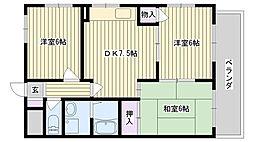鶴見緑地ハイツ弐番館[7A号室]の間取り
