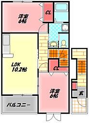 京阪本線 門真市駅 徒歩15分の賃貸アパート 2階2LDKの間取り