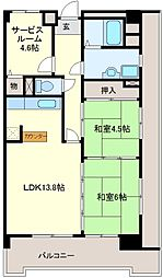 パールハイツ堺[4階]の間取り