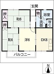 ボナール山田[2階]の間取り