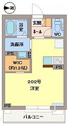 JR津山線 法界院駅 徒歩20分の賃貸マンション 2階ワンルームの間取り