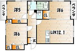 プレステージ西工大前II[2階]の間取り