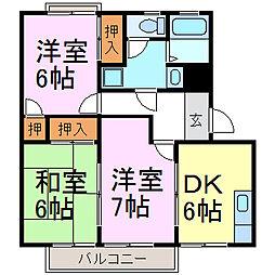 愛知県知多市原1丁目の賃貸アパートの間取り