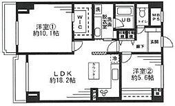 JR山手線 高田馬場駅 徒歩12分の賃貸マンション 7階2LDKの間取り