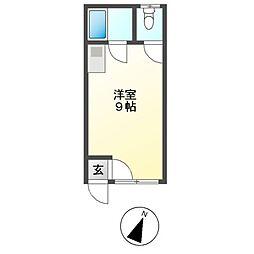 M12 1階ワンルームの間取り