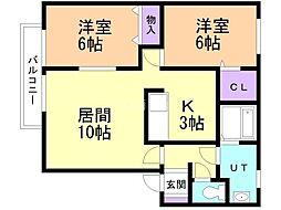 センチュリー澄川A棟 1階2LDKの間取り