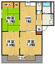 メゾンボナールA[1階]の間取り