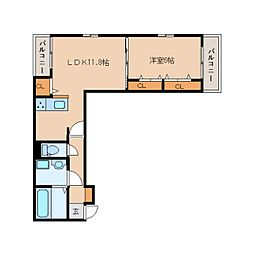 JR関西本線 木津駅 徒歩17分の賃貸アパート 1階1LDKの間取り