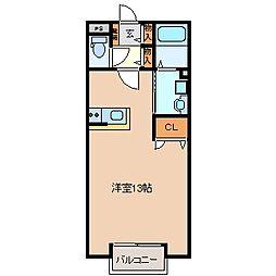 三重県四日市市中納屋町の賃貸アパートの間取り