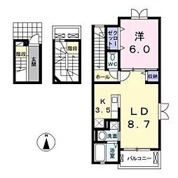 愛知県北名古屋市鹿田東海の賃貸アパートの間取り