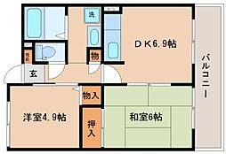 兵庫県神戸市長田区御船通5丁目の賃貸マンションの間取り