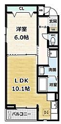 ガーデンハイム久御山 1階1LDKの間取り
