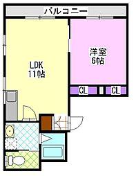 サンコーポ松ケ丘[2階]の間取り