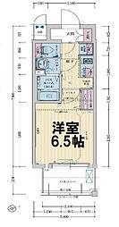レシオス大阪城公園 2階1Kの間取り