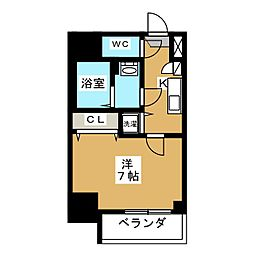 エスプレイス鶴舞ガーデンテラス 3階1Kの間取り