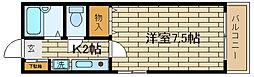 兵庫県神戸市須磨区天神町1丁目の賃貸アパートの間取り