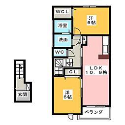 シャルムB[2階]の間取り