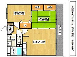 福岡県北九州市八幡東区宮の町1丁目の賃貸アパートの間取り