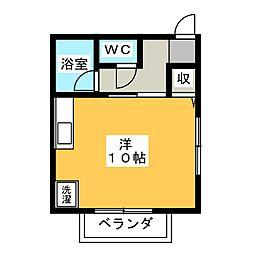 ハイツHIRAIWA 2階ワンルームの間取り