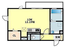 JR東海道本線 岡崎駅 徒歩24分の賃貸アパート 1階ワンルームの間取り