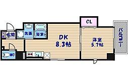 フクダ不動産上本町マンション 8階1DKの間取り