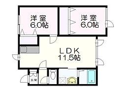 北海道札幌市清田区美しが丘三条2丁目の賃貸アパートの間取り