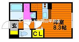 JR山陽本線 東岡山駅 徒歩10分の賃貸アパート 1階ワンルームの間取り