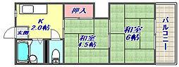 豊田マンション[402号室]の間取り