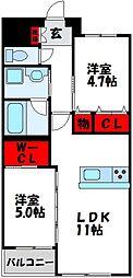 JR鹿児島本線 赤間駅 徒歩25分の賃貸マンション 2階2LDKの間取り