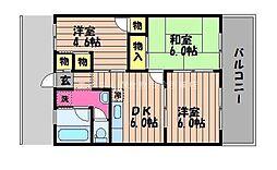 岡山県倉敷市児島下の町2丁目の賃貸マンションの間取り