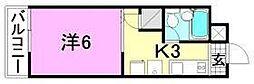 リベラル萱町[206号室]の間取り