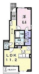JR福塩線 神辺駅 徒歩4分の賃貸アパート 1階1LDKの間取り