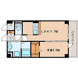 近鉄大阪線 二上駅 徒歩1分の賃貸マンション 4階1LDKの間取り